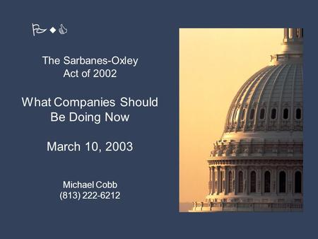 The Sarbanes-Oxley Act of 2002 1 PricewaterhouseCoopers Introduction of Panel Members The Sarbanes-Oxley Act of 2002 What Companies Should Be Doing Now.