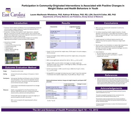 Participation in Community-Originated Interventions is Associated with Positive Changes in Weight Status and Health Behaviors in Youth Lauren MacKenzie.