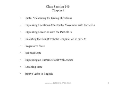 Class Session 14b Chapter 9 Useful Vocabulary for Giving Directions