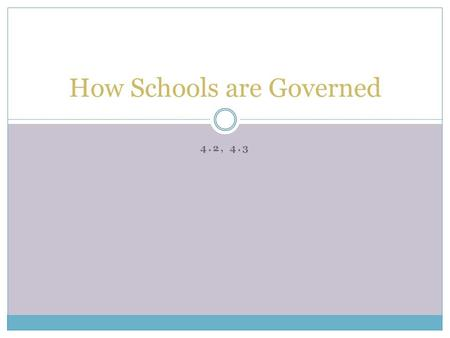 4.2, 4.3 How Schools are Governed. Who is the individual or group responsible for making these decisions?
