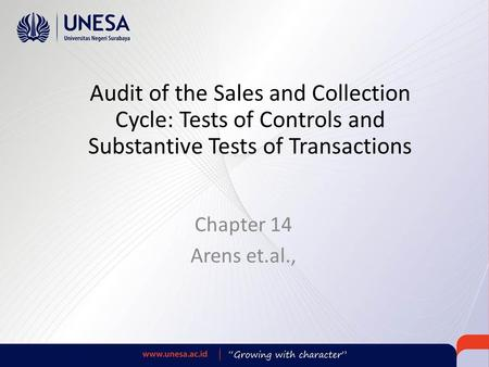 Audit of the Sales and Collection Cycle: Tests of Controls and Substantive Tests of Transactions Chapter 14 Arens et.al.,