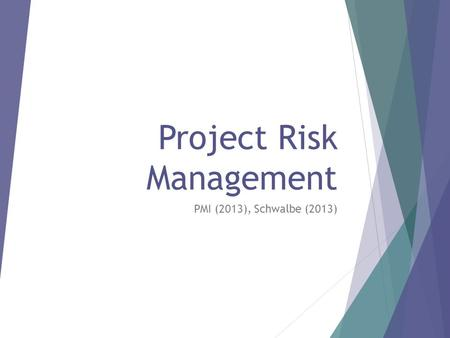 Project Risk Management PMI (2013), Schwalbe (2013)