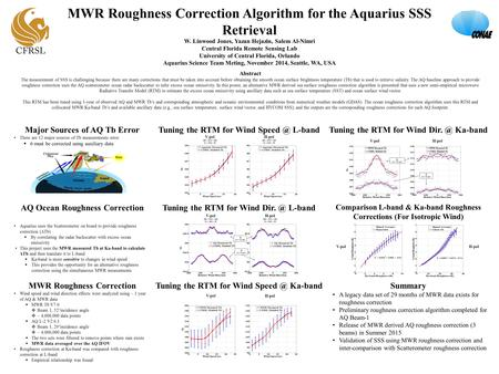 MWR Roughness Correction Algorithm for the Aquarius SSS Retrieval W. Linwood Jones, Yazan Hejazin, Salem Al-Nimri Central Florida Remote Sensing Lab University.