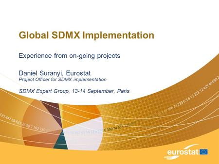 Global SDMX Implementation Experience from on-going projects Daniel Suranyi, Eurostat Project Officer for SDMX implementation SDMX Expert Group, 13-14.