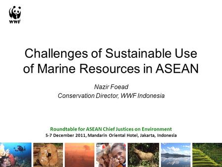 Challenges of Sustainable Use of Marine Resources in ASEAN Nazir Foead Conservation Director, WWF Indonesia Roundtable for ASEAN Chief Justices on Environment.