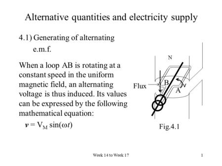 Week 14 to Week 171 Alternative quantities and electricity supply 4.1) Generating of alternating e.m.f. When a loop AB is rotating at a constant speed.