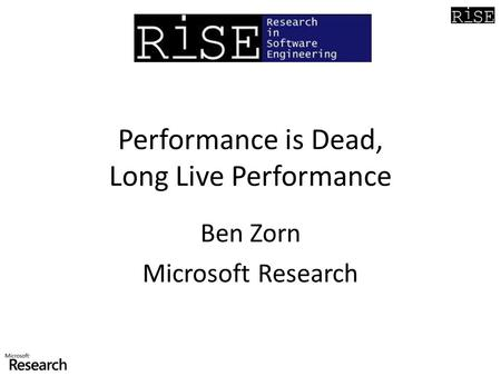 Performance is Dead, Long Live Performance