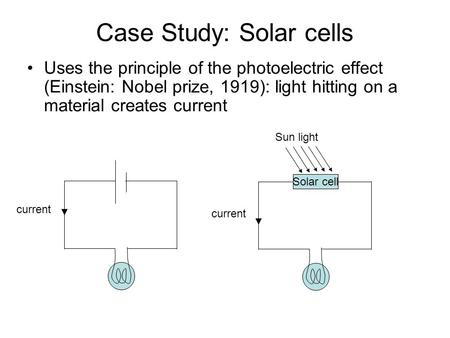 Case Study: Solar cells Uses the principle of the photoelectric effect (Einstein: Nobel prize, 1919): light hitting on a material creates current current.