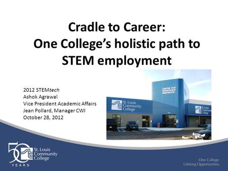 Cradle to Career: One College's holistic path to STEM employment 2012 STEMtech Ashok Agrawal Vice President Academic Affairs Jean Pollard, Manager CWI.
