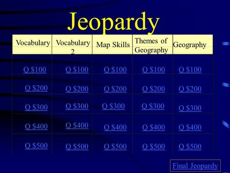 Jeopardy VocabularyVocabulary 2 Map Skills Themes of Geography Geography Q $100 Q $200 Q $300 Q $400 Q $500 Q $100 Q $200 Q $300 Q $400 Q $500 Final Jeopardy.