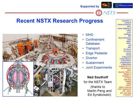 Supported by Columbia U Comp-X General Atomics INEL Johns Hopkins U LANL LLNL Lodestar MIT Nova Photonics NYU ORNL PPPL PSI SNL UC Davis UC Irvine UCLA.