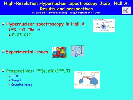 Hypernuclear spectroscopy in Hall A 12 C, 16 O, 9 Be, H E-07-012 Experimental issues Prospectives: 208 (e,e'K+) 208  Ti PID Target Counting rates High-Resolution.