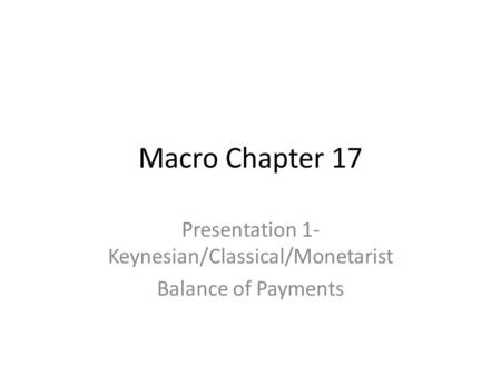 Presentation 1- Keynesian/Classical/Monetarist Balance of Payments