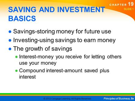 SAVING AND INVESTMENT BASICS
