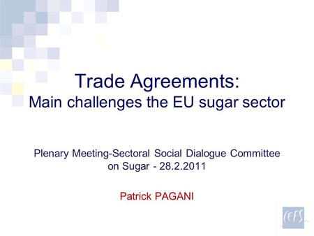 Trade Agreements: Main challenges the EU sugar sector Plenary Meeting-Sectoral Social Dialogue Committee on Sugar - 28.2.2011 Patrick PAGANI.