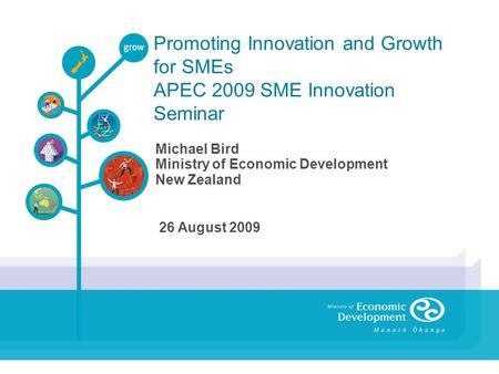 Promoting Innovation and Growth for SMEs APEC 2009 SME Innovation Seminar Michael Bird Ministry of Economic Development New Zealand 26 August 2009.