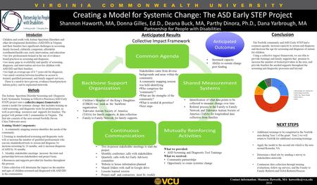 Creating a Model for Systemic Change: The ASD Early STEP Project Shannon Haworth, MA, Donna Gilles, Ed.D., Deana Buck, MA, Parthy Dinora, Ph.D., Dana Yarbrough,