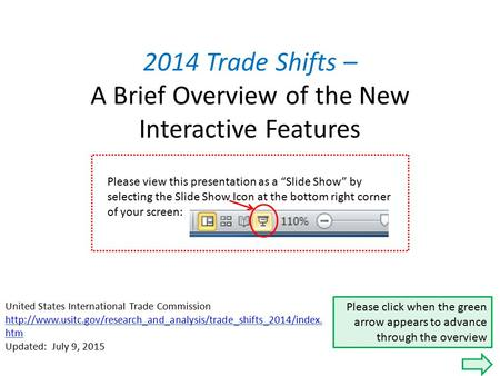 2014 Trade Shifts – A Brief Overview of the New Interactive Features United States International Trade Commission