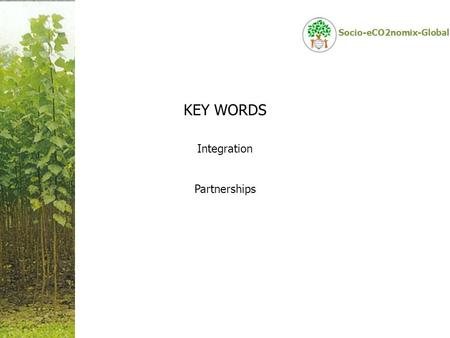 Socio-eCO2nomix-Global KEY WORDS Integration Partnerships.