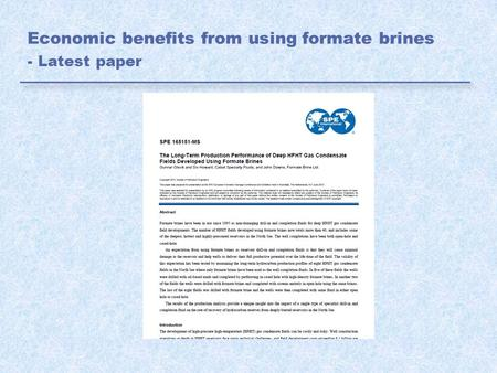Economic benefits from using formate brines - Latest paper.