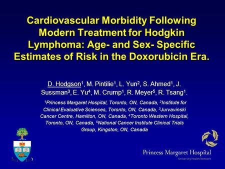 Cardiovascular Morbidity Following Modern Treatment for Hodgkin Lymphoma: Age- and Sex- Specific Estimates of Risk in the Doxorubicin Era. D. Hodgson 1,