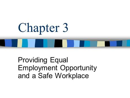 Providing Equal Employment Opportunity and a Safe Workplace