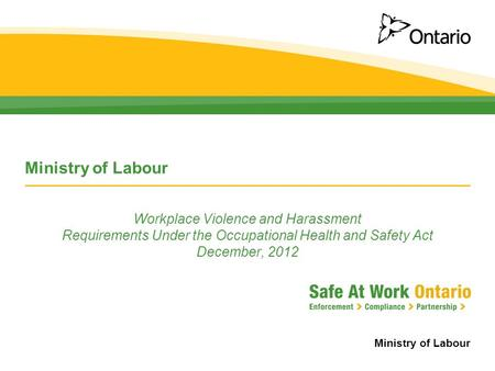 Ministry of Labour Workplace Violence and Harassment Requirements Under the Occupational Health and Safety Act December, 2012.