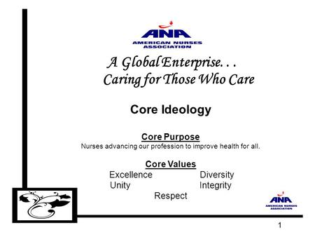 1 A Global Enterprise... Caring for Those Who Care Core Ideology Core Purpose Nurses advancing our profession to improve health for all. Core Values Excellence.