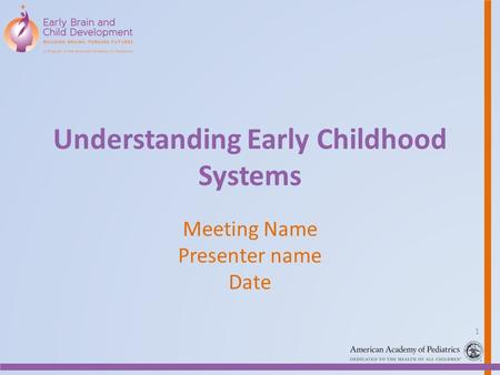 Understanding Early Childhood Systems Meeting Name Presenter name Date 1.