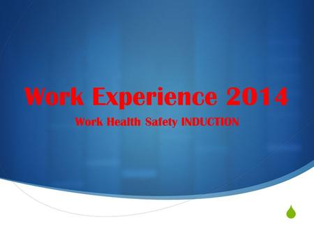  Work Experience 2014 Work Health Safety INDUCTION.