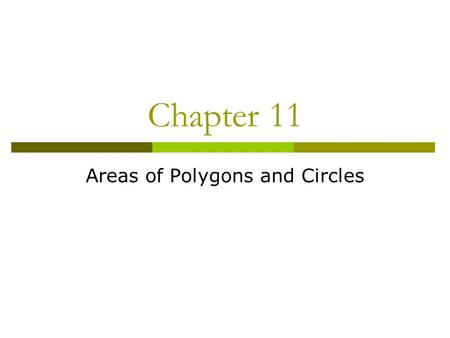 Chapter 11 Areas of Polygons and Circles. 11.1 Areas of Parallelograms  The height is always perpendicular to the base h b w l A = bh A =lw A = s 2 s.
