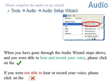 ©Marian Small, 2011 Please complete the audio set up wizard: When you have gone through the Audio Wizard steps above, and you were able to hear and record.