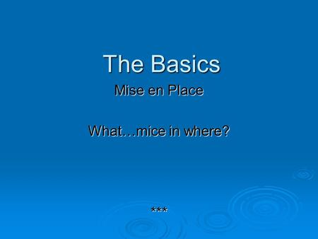 Mise en Place What…mice in where? ***