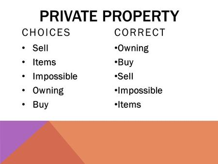 PRIVATE PROPERTY CHOICES Sell Items Impossible Owning Buy CORRECT Owning Buy Sell Impossible Items.
