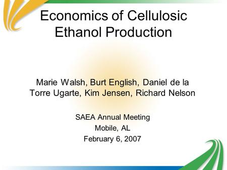 Economics of Cellulosic Ethanol Production Marie Walsh, Burt English, Daniel de la Torre Ugarte, Kim Jensen, Richard Nelson SAEA Annual Meeting Mobile,