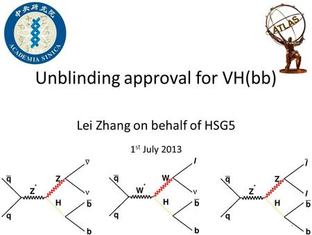 Lei Zhang on behalf of HSG5 1 st July 2013 Unblinding approval for VH(bb) 1.