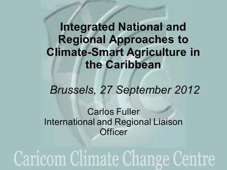 Integrated National and Regional Approaches to Climate-Smart Agriculture in the Caribbean Brussels, 27 September 2012 Carlos Fuller International and Regional.