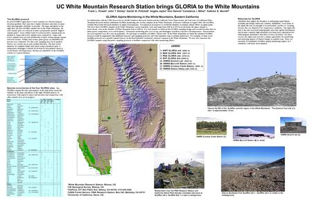 UC White Mountain Research Station brings GLORIA to the White Mountains Upper summit area (within 5 vertical m of summit point) Lower summit area (between.