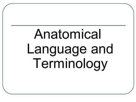 Anatomical Language and Terminology. It all seems Greek to me!!!! Often students complain that when they study anatomy it seems so hard because it's like.
