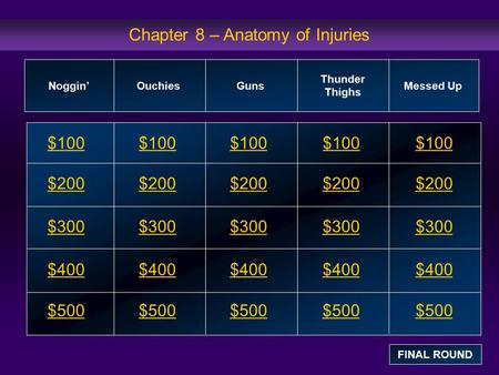 Chapter 8 – Anatomy of Injuries $100 $200 $300 $400 $500 $100$100$100 $200 $300 $400 $500 Noggin' Ouchies Guns Thunder Thighs Messed Up FINAL ROUND.