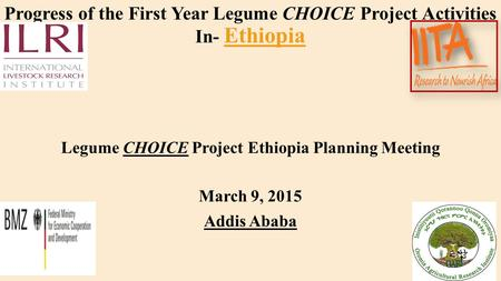 Progress of the First Year Legume CHOICE Project Activities In- Ethiopia Legume CHOICE Project Ethiopia Planning Meeting March 9, 2015 Addis Ababa.