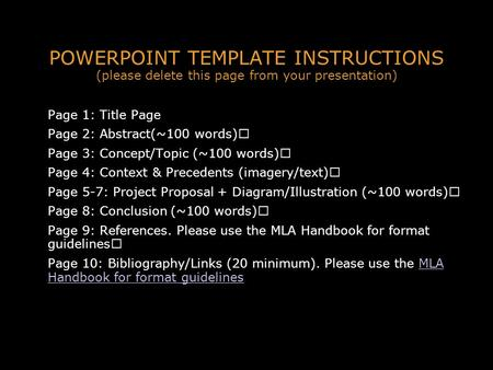 POWERPOINT TEMPLATE INSTRUCTIONS (please delete this page from your <strong>presentation</strong>) Page 1: Title Page Page 2: Abstract(~100 words) Page 3: Concept/Topic.