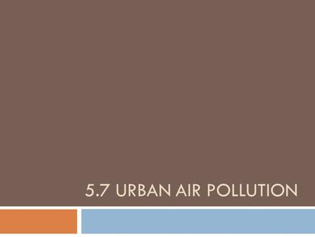 5.7 URBAN AIR POLLUTION. Beijing, China Tropospheric ozone  Tropospheric ozone (ground level ozone) = bad ozone (not protective) as a result of human.