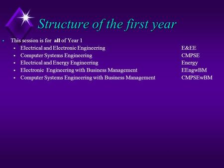 Structure of the first year  This session is for all of Year 1  Electrical and Electronic Engineering E&EE  Computer Systems EngineeringCMPSE  Electrical.