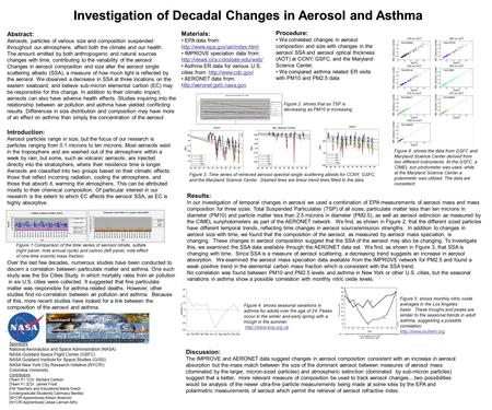 Investigation of Decadal Changes in Aerosol and Asthma Sponsors: National Aeronautics and Space Administration (NASA) NASA Goddard Space Flight Center.