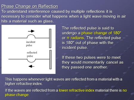 Phase Change on Reflection To understand interference caused by multiple reflections it is necessary to consider what happens when a light wave moving.