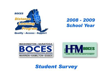 .. SAN-HFM Distance Learning Project Student Survey 2008 – 2009 School Year BOCES Distance Learning Program Quality Access Support.