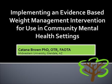 Catana Brown PhD, OTR, FAOTA Midwestern University, Glendale, AZ.