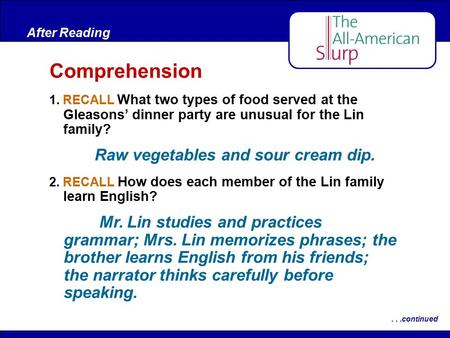 Comprehension Raw vegetables and sour cream dip.