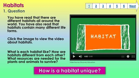 1. Question You have read that there are different habitats all around the world. You have also read that habitats contain many different life forms.
